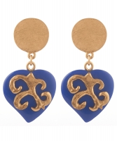 Yves Saint Laurent Massive Faux Sapphire Heart Dangling Earrings