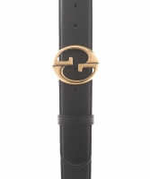 Gucci Black Leather Belt Goldtone G Buckle