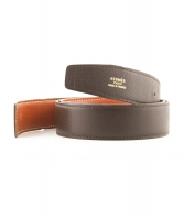 Hermès 32mm Reversible Dark Brown / Rust Brown Leather Belt Strap - Hermès