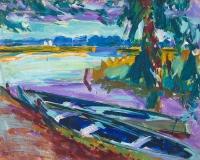 Roeiboten langs het water - Johan Dijkstra