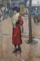 Parisienne with red robe