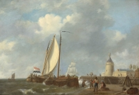 Ship near the harbour (right side 4 figures on little beach, ship left towards middle carries Dutch flag)