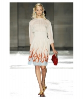 Prada Flame Print Silk Chiffon Dress - Runway - Prada