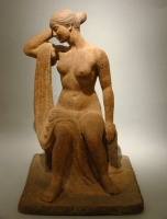 Terracotta by Charles Weddepohl: a sitting lady - Charles Weddepohl