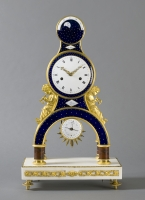 A French Directoire ormolu skeleton clock fine enamel and calendar, Gaston Joly, circa 1795.