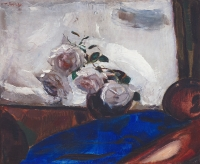 Still life with roses and a blue background