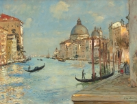 The Grand Canal with the Santa Maria della Salute in Venice - Jean-Francois Raffaelli