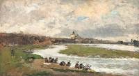 Les laveuses à Pont du Château par temps couvert  - Albert Lebourg
