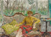 Madame De Smet sitting on a sofa - Léon De Smet