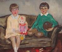 Portret van de kinderen Evert en Emilie (Mimi) Doedes Breuning ten Cate