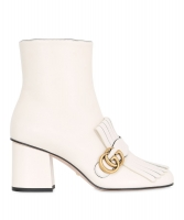Gucci White Marmont Fringed Leather Ankle Boots - Gucci
