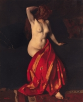 Nude sitting with a red cloth