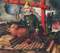 Clown on pig and sea - Quirijn van Tiel