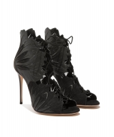 Casadei Black Leather Lace-Up Sandals - Casadei