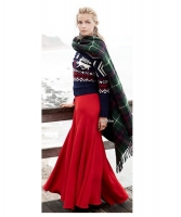 Ralph Lauren Red Silk Satin Full Length Drawstring Maxi Skirt