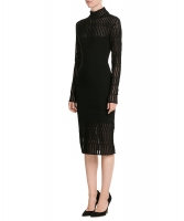Mugler Wool Dress with Sheer Inserts - Thierry Mugler