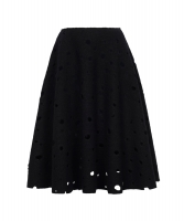 J.W. Anderson Black Wool Perforated A-Line Skirt