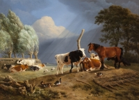 Horse and cattle in a landscape, a storm approaching