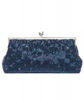 Vintage Iridescent Blue Beaded Frame Clutch