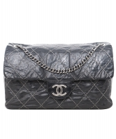 Chanel Black Glazed Goatskin Contrast Double Stitch Flap Bag - Chanel