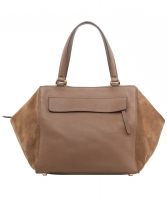 Fendi Brown Suede Leather 'Boston' Bag - Fendi