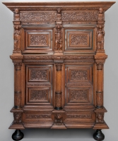 Cupboard, so-called Beeldenkast with personifications of the seven Virtues