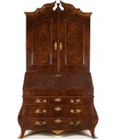 A Louis XV Burr - walnut Bureau Cabinet
