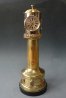 Brass lighthouse-clock, barometer / thermometers, France circa 1890.