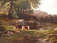 Cattle in Landscape.    Dutch romantic landscape with cattle