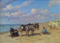 Donkeys on the beach - Louis Soonius