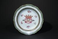 Paar Chinees Porselein borden met De La Parra wapen Qing dynasty keramiek