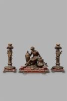 A Greek inspired marble desk inkwell featuring Adonis, with matching candlesticks, circa 1880