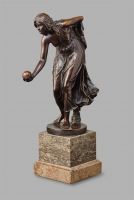A patinated bronze ' Kugelspielerin' by Walter Scott, circa 1890