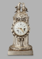 An 18th Century Louis XVI Pendule Clock by L'Epine, with an unusual silvered case by Osmond, circa 1780