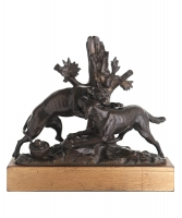 18e eeuwse Bronzen Sculptuur van Twee Vechtende Honden