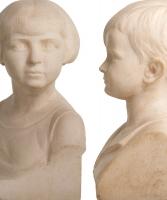 Paar Art Deco Marmeren Bustes van een Jongen en een Meisje door B. Tedeschi