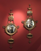 Pair convex gildwood mirrors