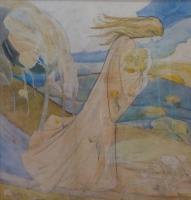 Symbolistic landscape with female figure