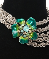 Philippe Ferrandis Silver Chain Green Flower Choker Necklace - Philippe Ferrandis