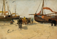 Fisherman, boats and horses on the beach