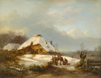 Farmhouse in a winterlandscape with snow. Dutch romantical winterlandscape