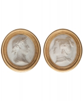 Pair of White Marble Profile Portraits with Calssical Features