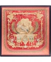 Louis XIV Geborduurd Paneel met Venus en Amor en Twee Wapenschilden