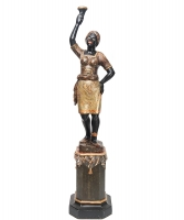 Carved Venetian Painted Female Blackamoor Torchere, on Stand