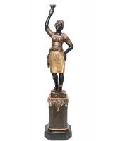 Venetiaans Vrouwelijke 'Blackamoor' Torchère, op Standaard