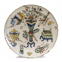 A Dutch Delft polychrome earthenware dish