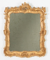 Louis XV Carved & Gilded Mirror with Carved Shell and Scroll