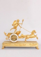A French Empire chariot mantel clock 'char d'amour', Deverberie circa 1810