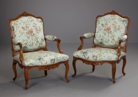 Pair of German Louis XV Armchairs