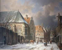 Townview in Wintertime -Man with a horse. PENDANT with Townview in Simmertime (left a mill)